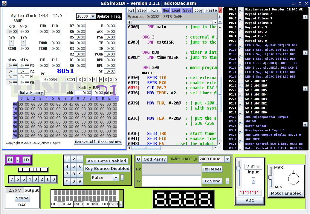 EdSim51 - The 8051 Simulator for Teachers and Students